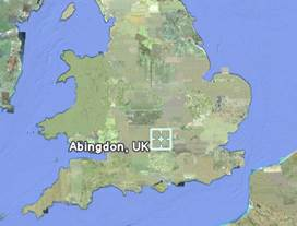 Map of England and Wales showing the location of Abingdon-on-Thames